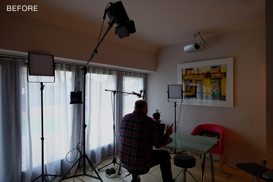 3 point lighting set up (before shot) by Damien Lovegrove - Lovegrove.Lighting