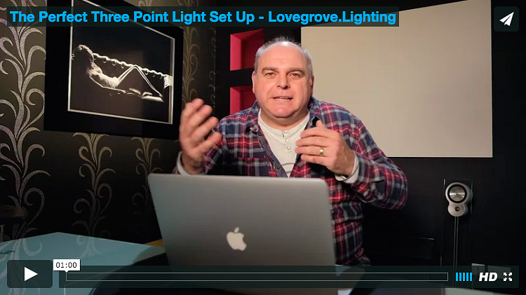 3 point lighting set up by Damien Lovegrove - Short Video Explanation